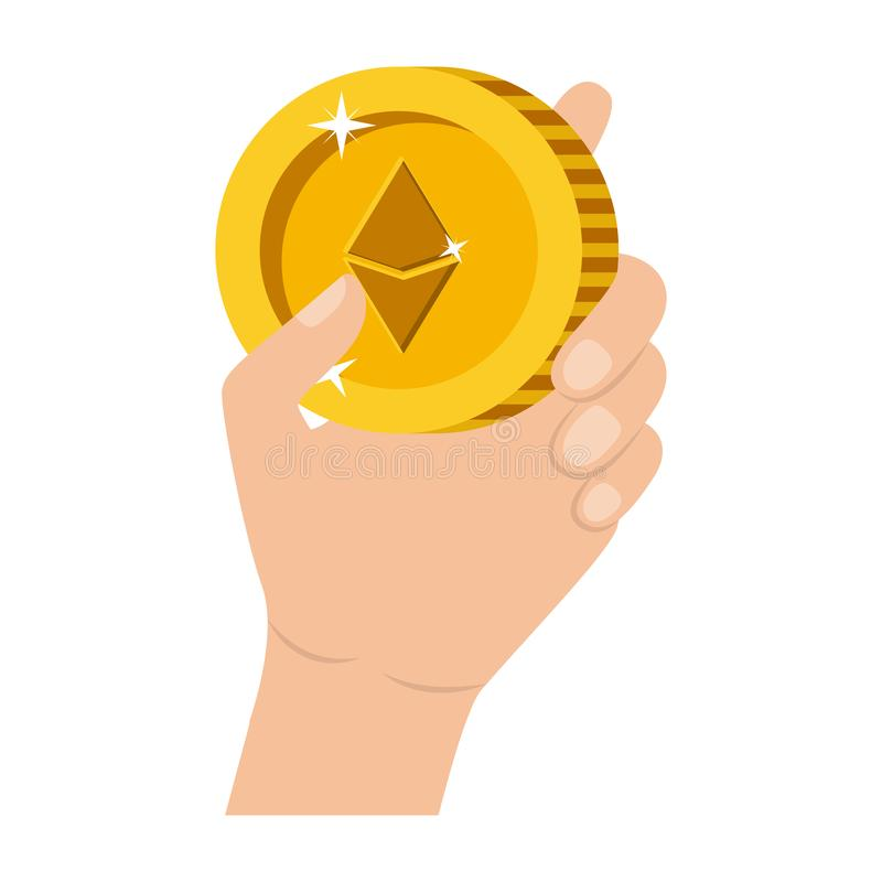 Hand with etherum coin. Vector illustration design vector illustration