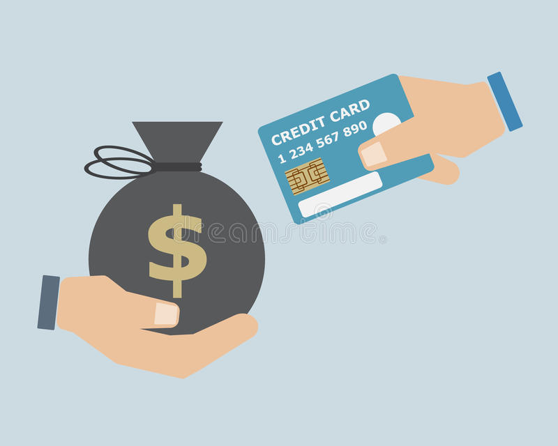 Hand Exchange Cash with Credit Card. Concept vector illustration