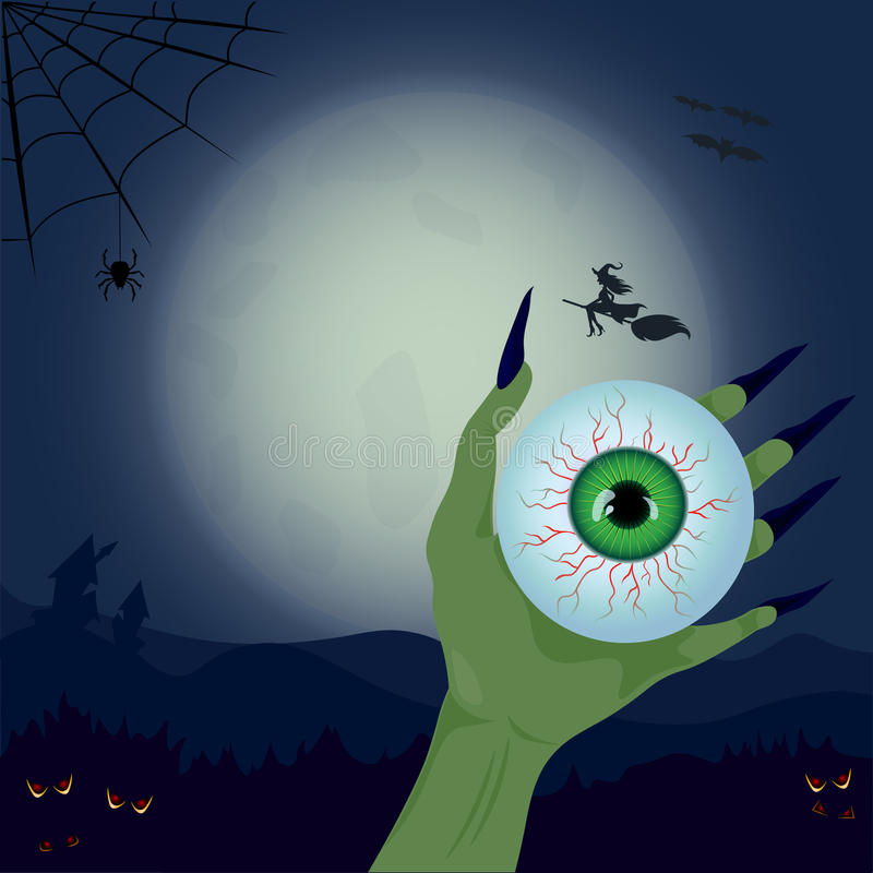 Hand and eye on the background of the moon stock illustration