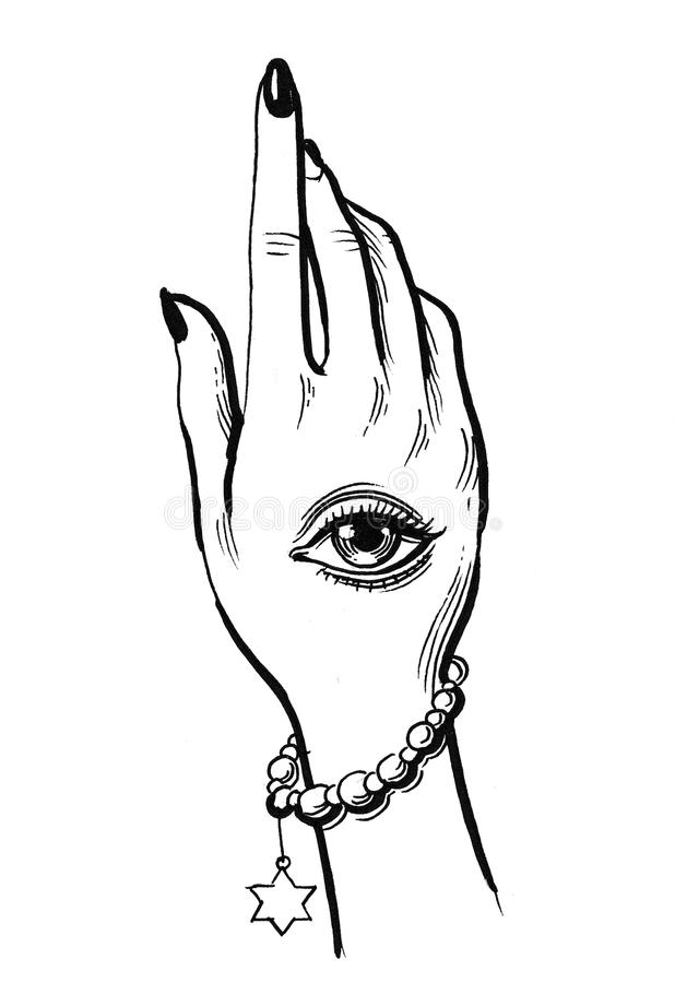Hand with an eye tattoo stock illustration