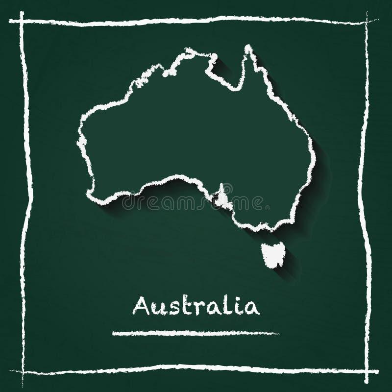 Hand för översikt för Australien översiktsvektor som dras med royaltyfri illustrationer