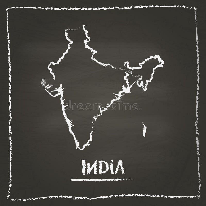 Hand för översikt för Indien översiktsvektor som dras med krita på royaltyfri illustrationer