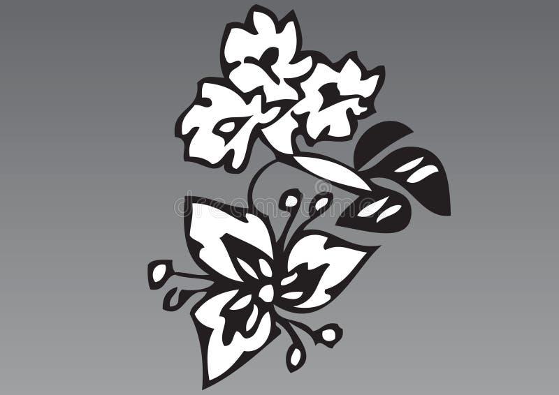 hand för 2 tecknad blommor stock illustrationer