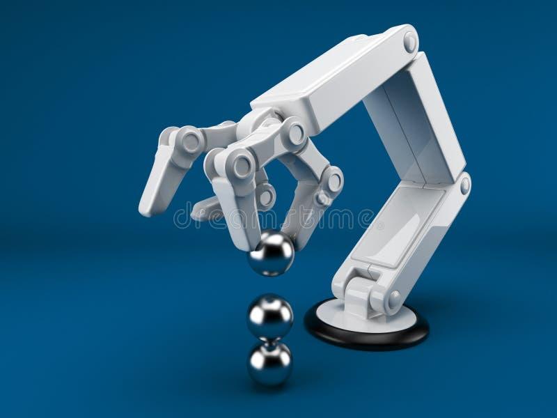 hand för 3d som ai rymmer den robotic spheren stock illustrationer