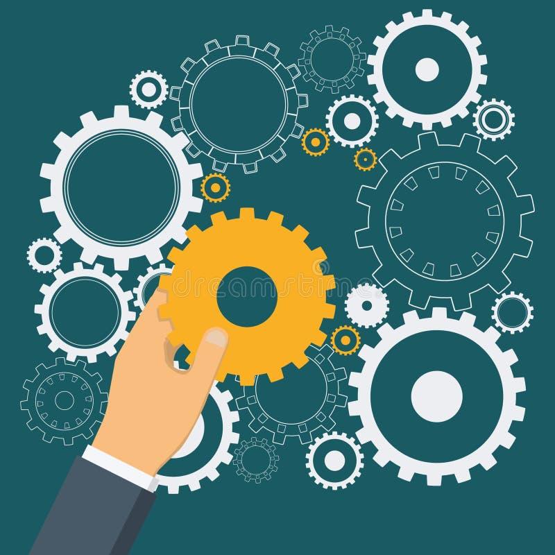Hand för affärsman` som s sätter det guld- kugghjulet till kugghjulmekanismen stock illustrationer