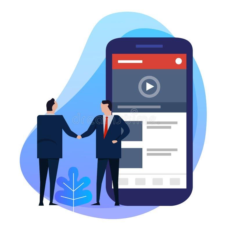Hand för affärsman som skakar avtalsöverenskommelse Nöjd skapare för video på den smarta telefonen digital information vektor illustrationer
