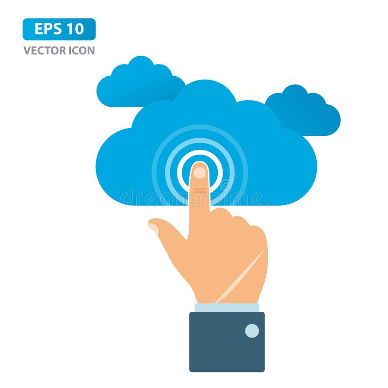 Hand för affärsman som trycker på molnsymbolen, Cloud Computing begrepp ocks? vektor f?r coreldrawillustration vektor illustrationer