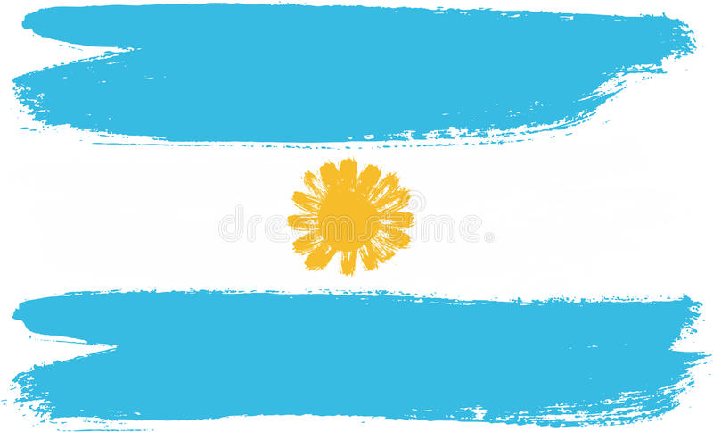 Hand för Argentina flaggavektor som målas med den rundade borsten vektor illustrationer