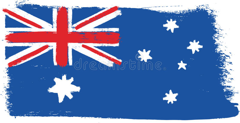 Hand för Australien flaggavektor som målas med den rundade borsten royaltyfri illustrationer