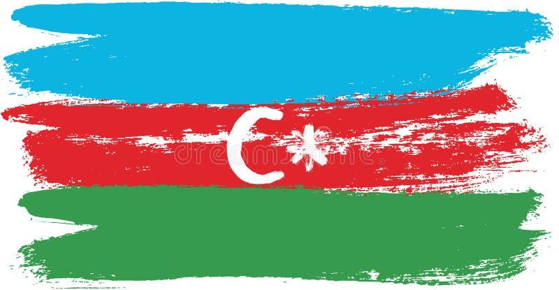 Hand för Azerbajdzjan flaggavektor som målas med den rundade borsten stock illustrationer