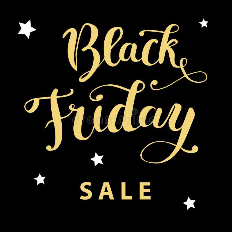 Hand för ` för `-Black Friday försäljning som märker guld- text på en svart bakgrund stock illustrationer