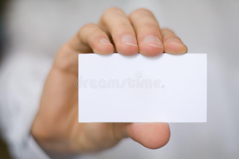 hand för blankt kort royaltyfria foton