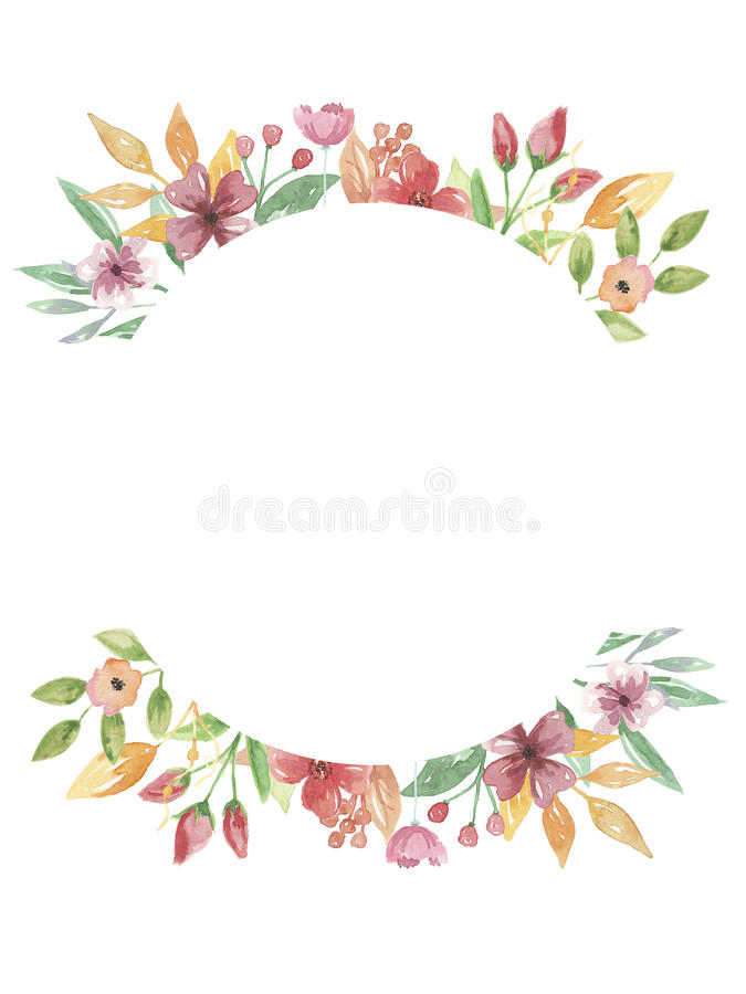 Hand för blomma för sommar för vattenfärgcirkelram målad blom- royaltyfri illustrationer