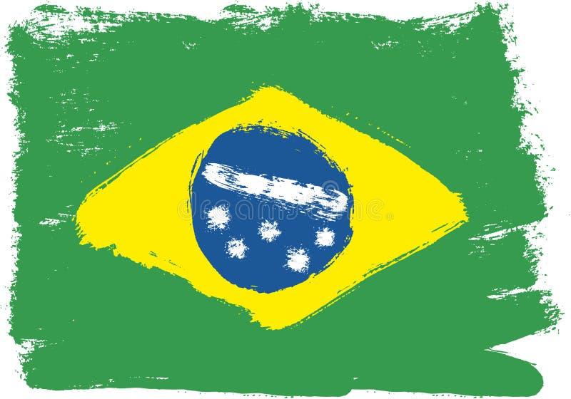 Hand för Brasilien flaggavektor som målas med den rundade borsten royaltyfri illustrationer