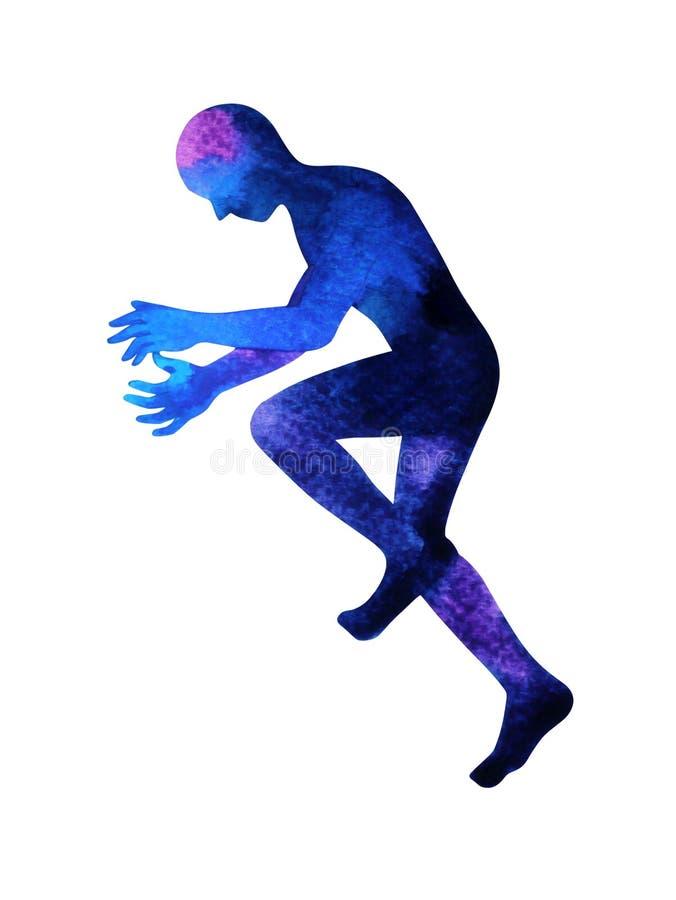 Hand för design för illustration för målning för vattenfärg för abstrakt konst för mening för mänsklig andlig maktenergi dragen a vektor illustrationer