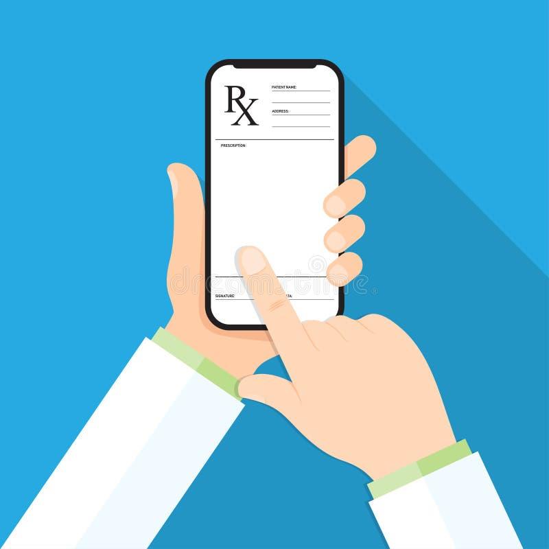 Hand för doktors` som s rymmer en smartphone med rxreceptet på en skärm royaltyfri illustrationer