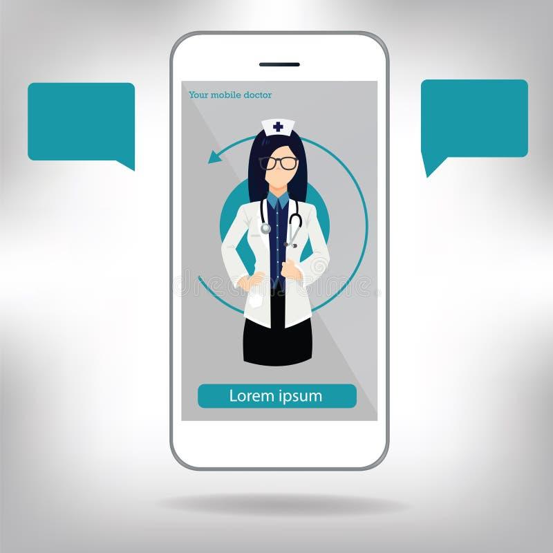 Hand för doktors` som s rymmer en stetoskop till och med telefonskärmen som kontrollerar puls Tele, online- avlägsen illustrat fö vektor illustrationer