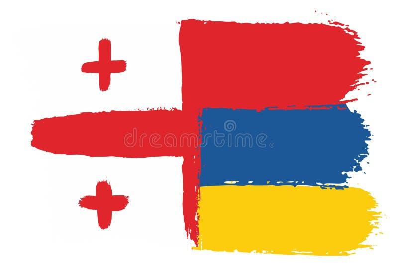 Hand för Georgia Flag & Armenien flaggavektor som målas med den rundade borsten stock illustrationer