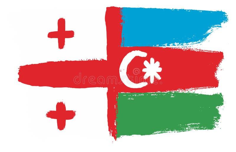 Hand för Georgia Flag & Azerbajdzjan flaggavektor som målas med den rundade borsten royaltyfri illustrationer