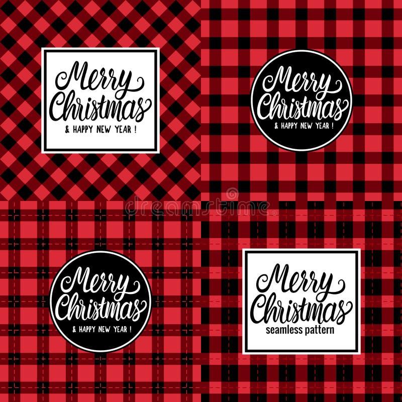 Hand för glad jul för kort för fastställd design dragen vit märka textinskriften Rutig svart för vektorillustration och rött royaltyfri illustrationer