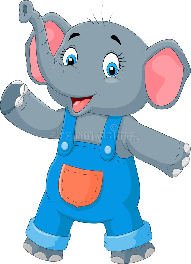Hand för gullig elefant för tecknad film vinkande royaltyfri illustrationer