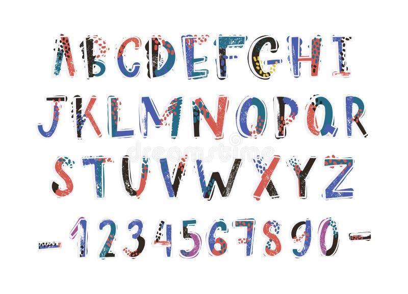 Hand för idérik latinsk stilsort som eller för engelskt alfabet dras på vit bakgrund Färgrika texturerade bokstäver ordnade in royaltyfri illustrationer