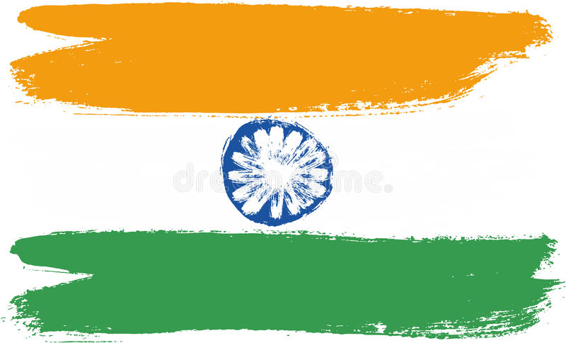 Hand för Indien flaggavektor som målas med den rundade borsten royaltyfri illustrationer