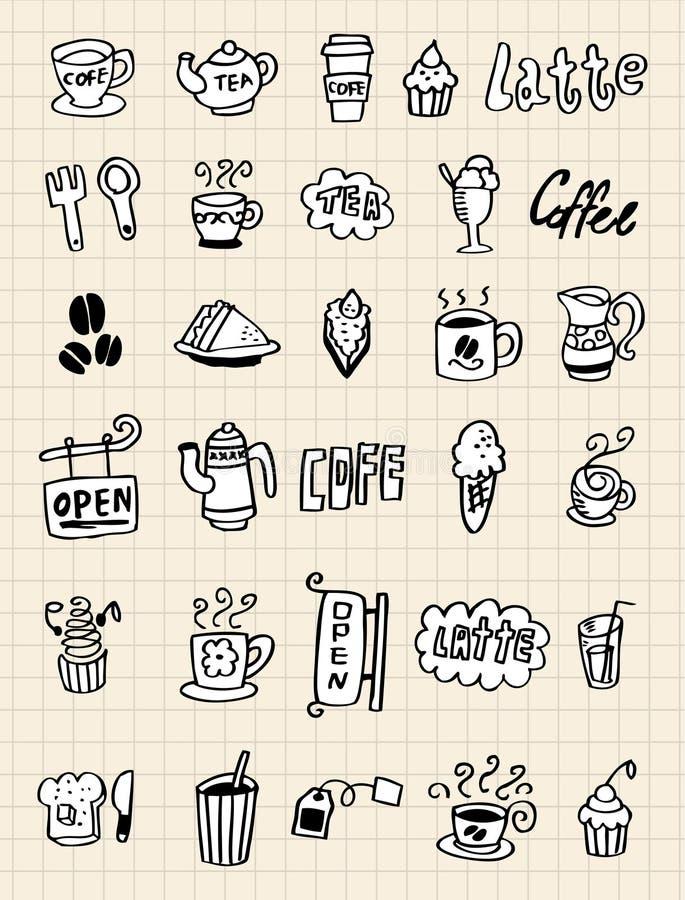 hand för kaffedrawelement royaltyfri illustrationer