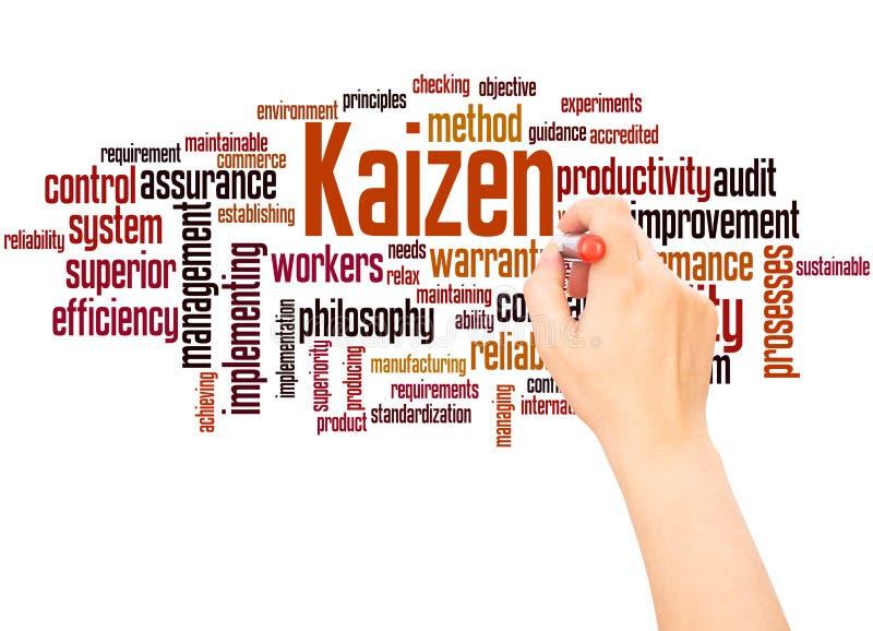 Hand för Kaizen ordmoln som skriver begrepp royaltyfri illustrationer
