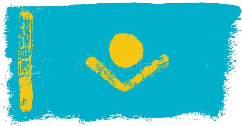 Hand för Kasakhstan flaggavektor som målas med den rundade borsten royaltyfri illustrationer