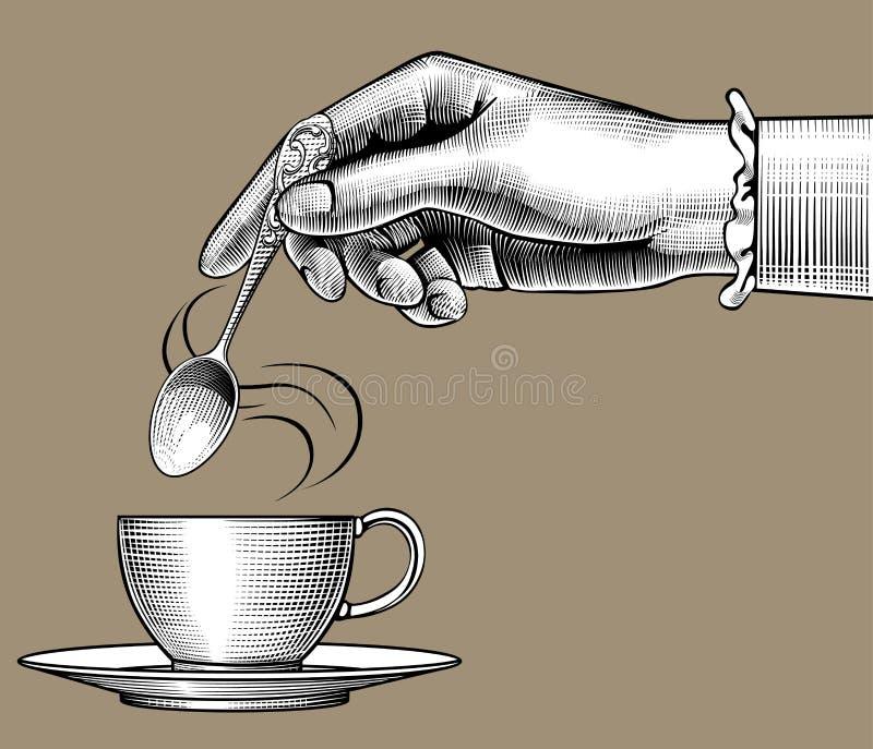 Hand för kvinna` s med en kaffekopp och sked vektor illustrationer