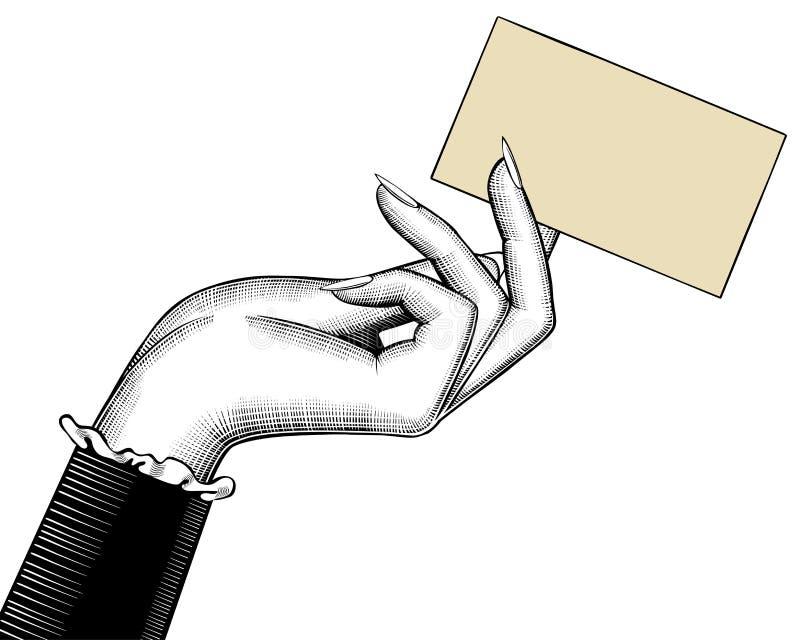 Hand för kvinna` s med en visitkort stock illustrationer
