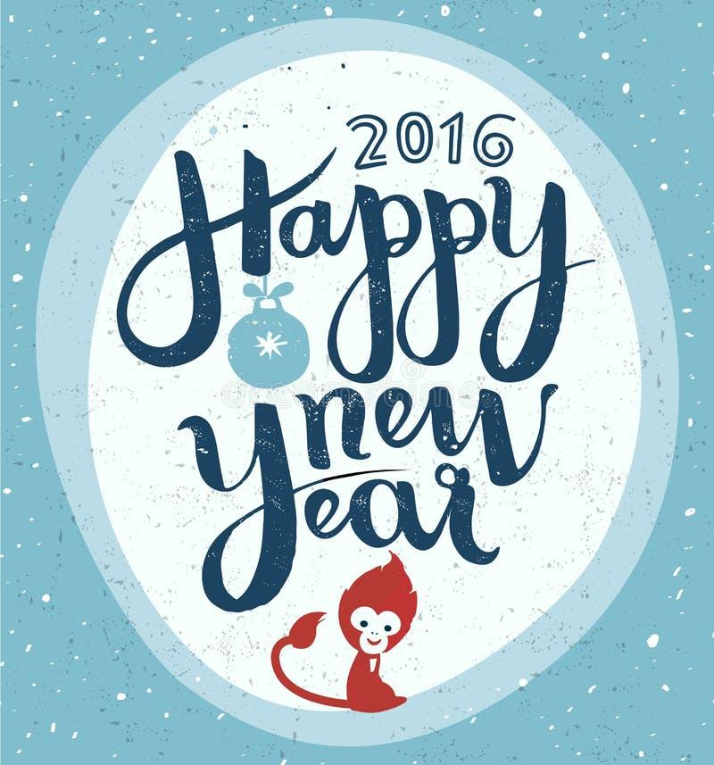 Hand för lyckligt nytt år - gjord bokstäver, hälsningkort arkivfoton