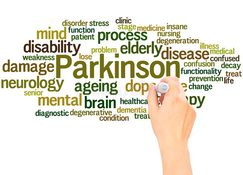 Hand för Parkinson ordmoln som skriver begrepp royaltyfri illustrationer
