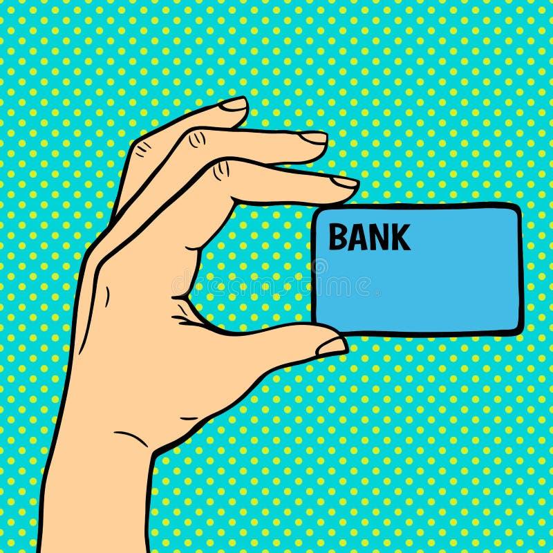 Hand för popkonst med illustrationen för pengarkortvektor royaltyfri illustrationer