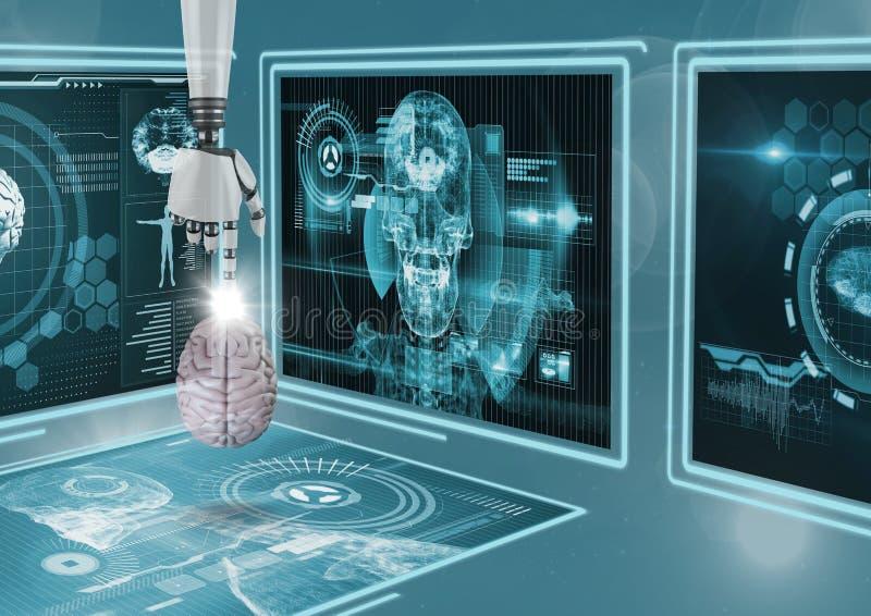 hand för robot som 3D pekar en hjärnmanöverenhet mot bakgrund med medicinska manöverenheter royaltyfri illustrationer