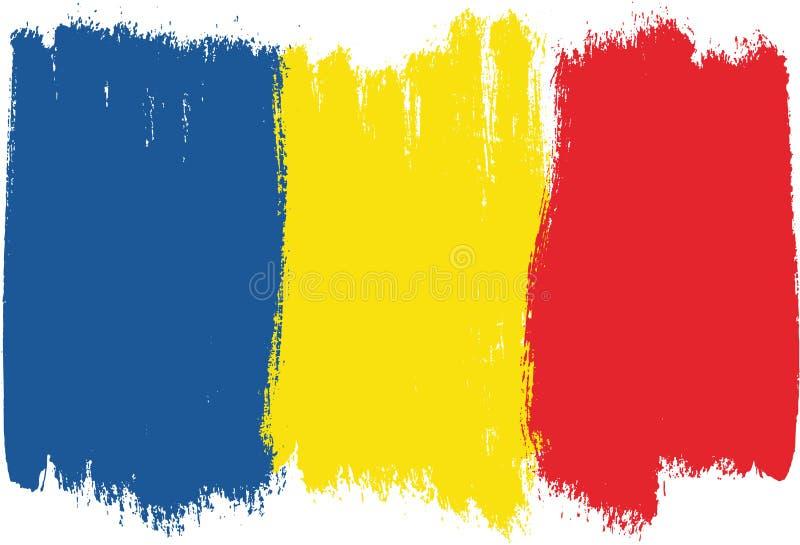 Hand för Rumänien flaggavektor som målas med den rundade borsten vektor illustrationer