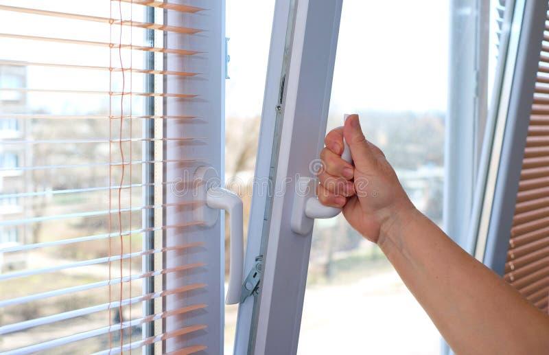 Hand för ` s för vuxen kvinna som öppnar ett fönster för ventilation royaltyfri bild