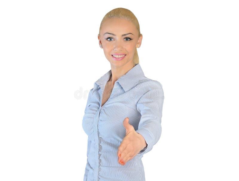 Hand för skaka för affärskvinna royaltyfri foto