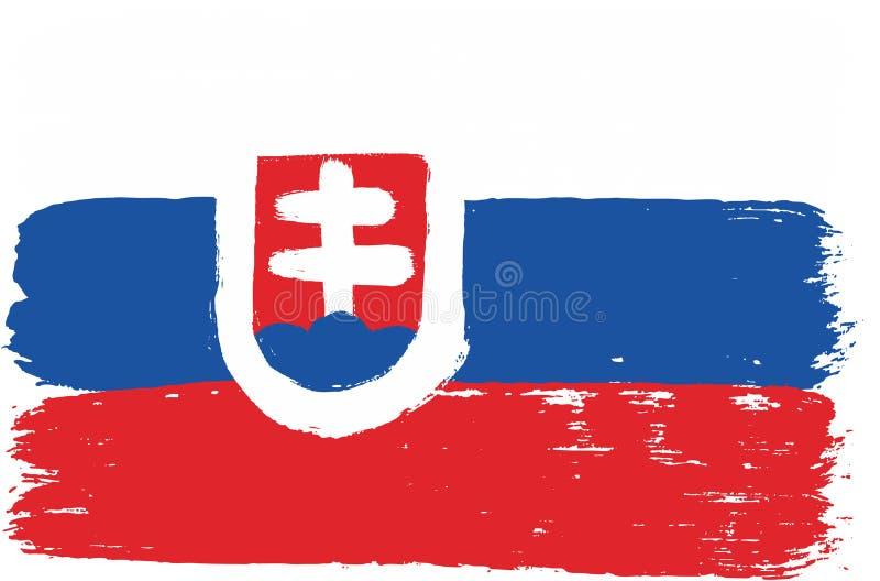 Hand för Slovakien flaggavektor som målas med den rundade borsten stock illustrationer