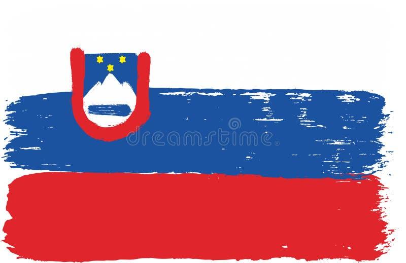 Hand för Slovenien flaggavektor som målas med den rundade borsten vektor illustrationer
