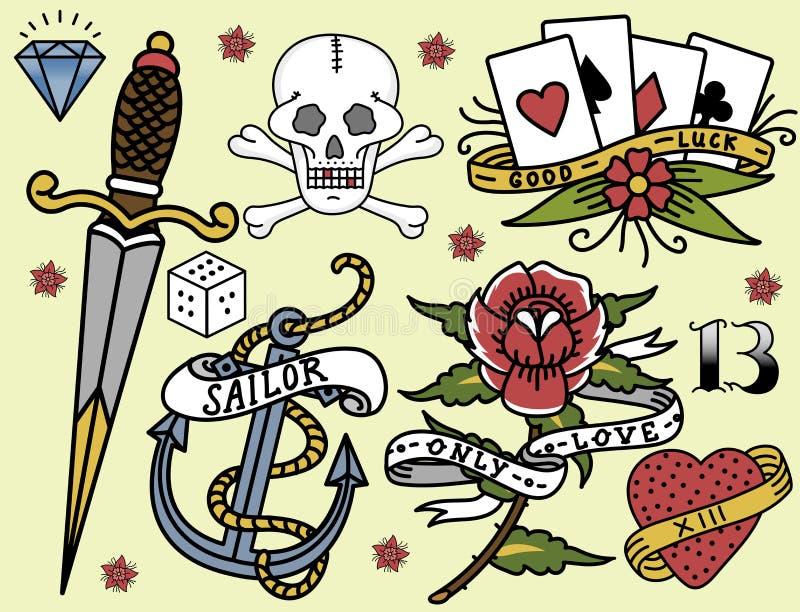 Hand för stil för konst för färgpulver för tatuering för tappning för gammal skola dragen retro tatuera vektorn för grafisk teckn royaltyfri illustrationer