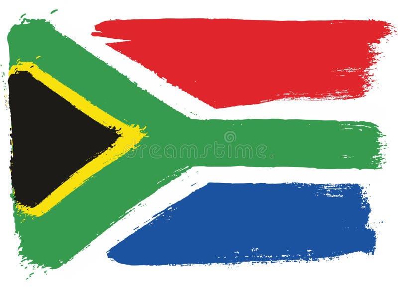 Hand för Sydafrika flaggavektor som målas med den rundade borsten stock illustrationer