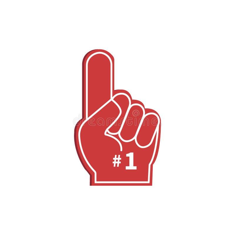 Hand för symbolsfanlogo med fingret upp stock illustrationer
