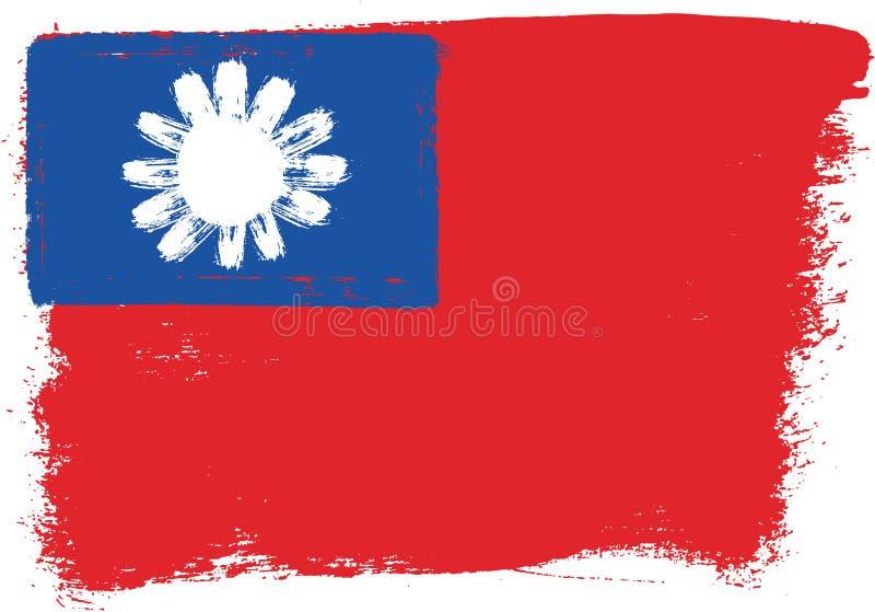 Hand för Taiwan flaggavektor som målas med den rundade borsten vektor illustrationer