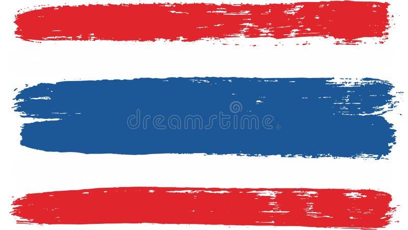 Hand för Thailand flaggavektor som målas med den rundade borsten vektor illustrationer