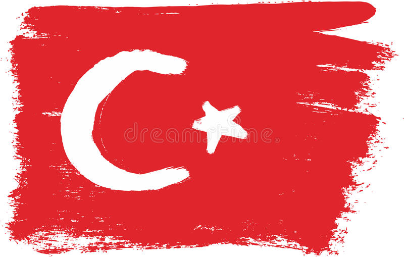 Hand för Turkiet flaggavektor som målas med den rundade borsten stock illustrationer