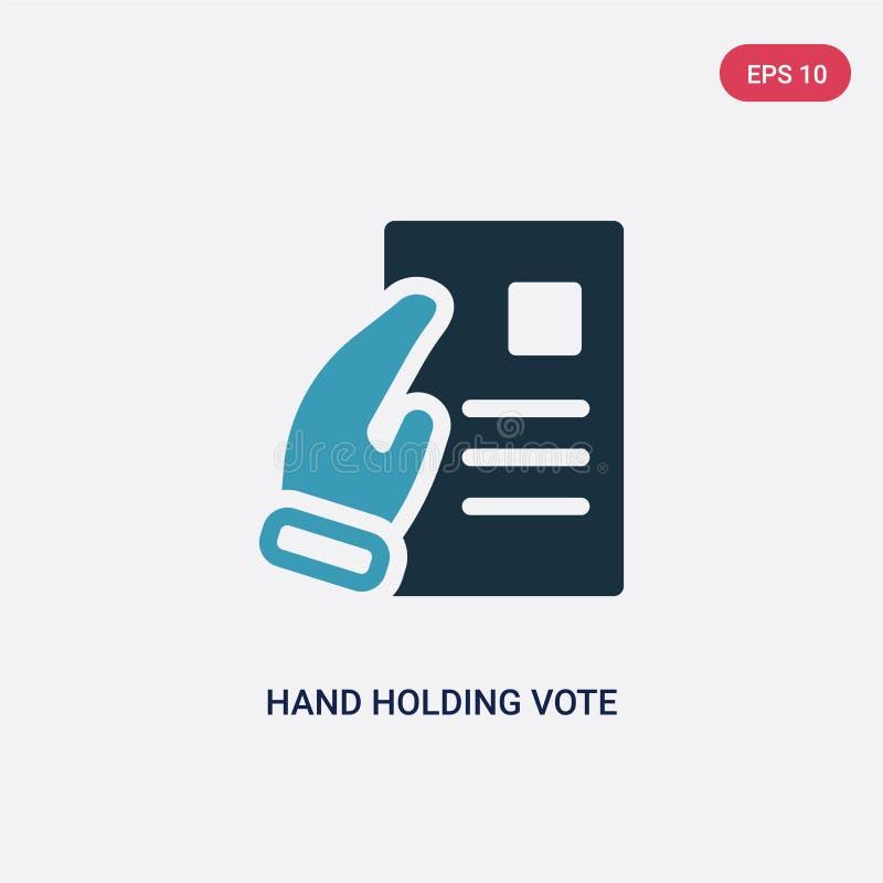 Hand för två färg som rymmer för att rösta pappersvektorsymbolen från politiskt begrepp isolerat blått rymma för hand röstar symb stock illustrationer