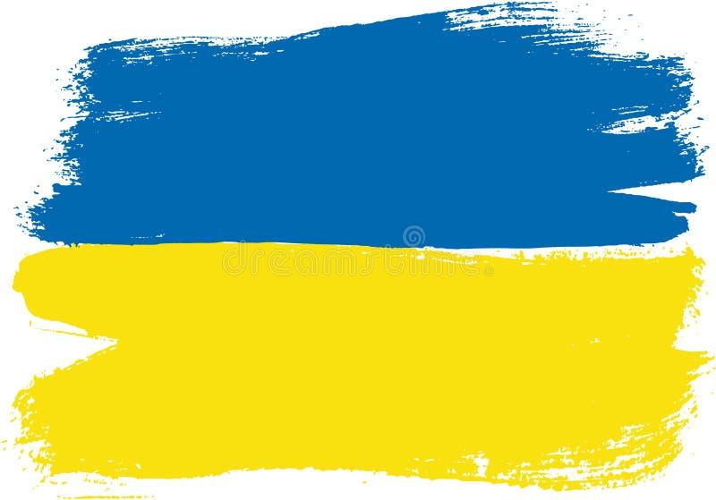 Hand för Ukraina flaggavektor som målas med den rundade borsten stock illustrationer
