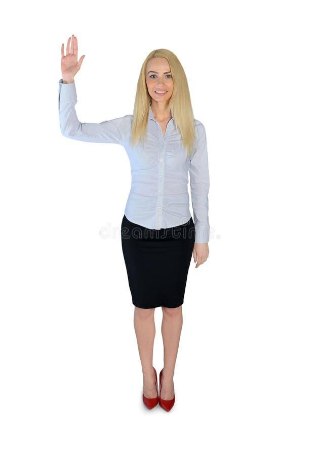 Hand för våg för affärskvinna arkivbild